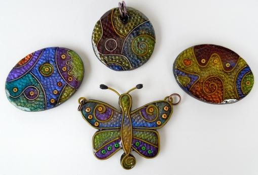 Faux Cloisonne Pendants & Butterfly