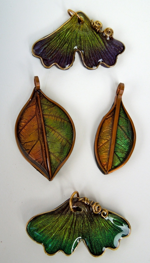 Polymer Clay Leaf Pendants